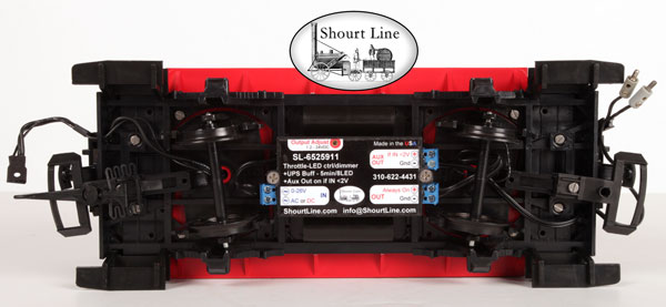 G Scale SL-6525911 Lighting System, Under Car Case, LED Ctrl-dimmer, UPS Super Cap Buffer, Always on & Aux on Outputs when the train stops mounted and wired on LGB short car