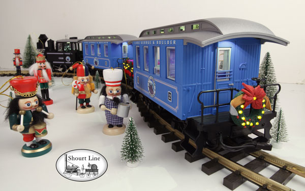 G Scale Shourt Line LGB 72327 HLW 15105 G Scale Ultimate Hybrid 71 LED Passenger Christmas Train Starter Set