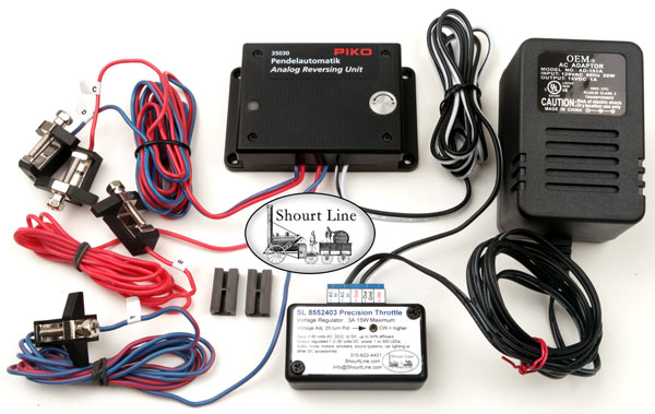 PIKO-35030 Analog Reversing Unit/PIKO-35030_Analog-Reversing-Unit_components_+_SL-8552403 Train Throttle + 15Volt DC 1 amp power supply