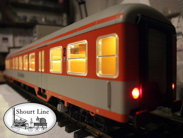 Piko 37622 DB IV Silver Coin Coach 2 Class City-Bahn w SL-35LED-Bd powered by SL-8453003 LED Controller powering a SL	8137230	35 LED 3 Drop Ceiling Lighting + 2 Red LEDs