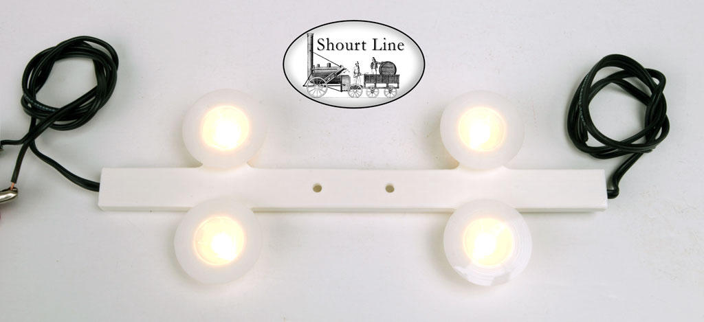 Shourt Line SL 8204230 4 LED Soft White Opal Light Fixtures for short cars DC/DCC w 2ea mounting Screws and 2ea 18 inch Power Cables for short to medium length G Scale Cars - requires an SL LED controller